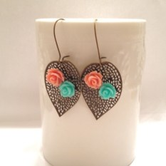Coral Turquoise leaf earrings