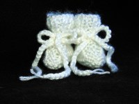Pure White Hand Knit Baby Booties Newborn Size on Handmade ...