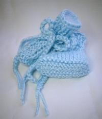 Baby Blue Newborn Size Hand Knit Baby Booties on Handmade ...
