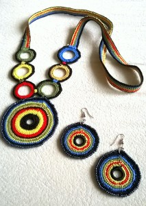 crocheted necklace and earrings