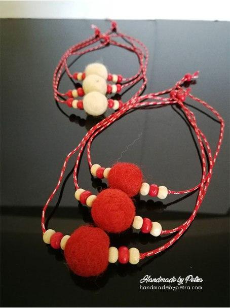 Мартеници с топче от плъстена вълна - handmadebypetra.com