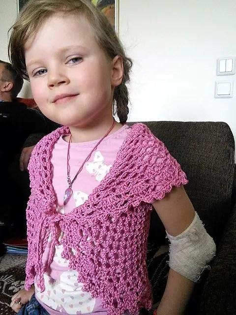 pink crochet girls vest
