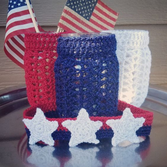 Red white blue crochet projects