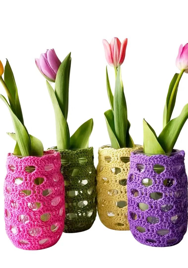 How to crochet mason jar cover