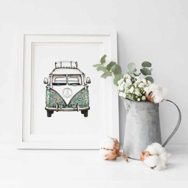 VW Campervan Print Floral A4
