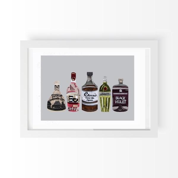 Textiles Gin Bottles A4 Art Print