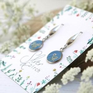 Blue Resin Pressed Flowers Handmade Earrings