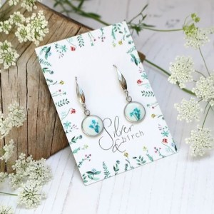 Handmade Teal and White Earrings made with Real Pressed Flowers