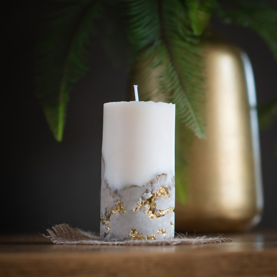 Handmade Soy Wax & Concrete Pillar Candle