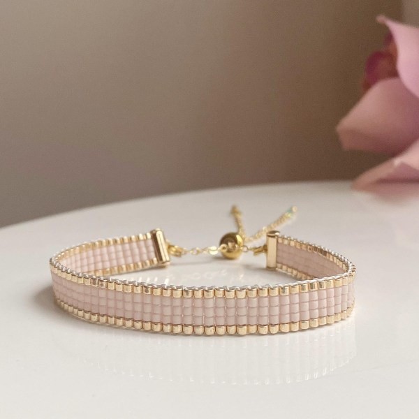 Handcrafted Pink Champagne Beaded Bracelet with Gold Edging Beads