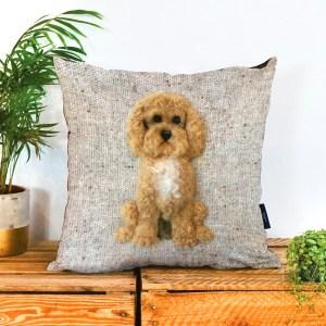 Cockapoo Dog Vegan Suede Cushion