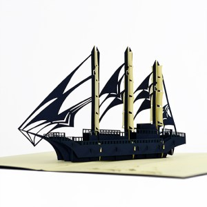 black sailboat popup card