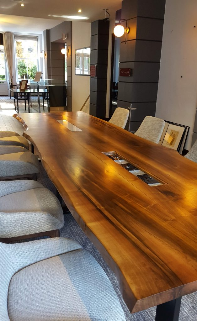 Serbian Walnut live-edge sharing table, Kensington London