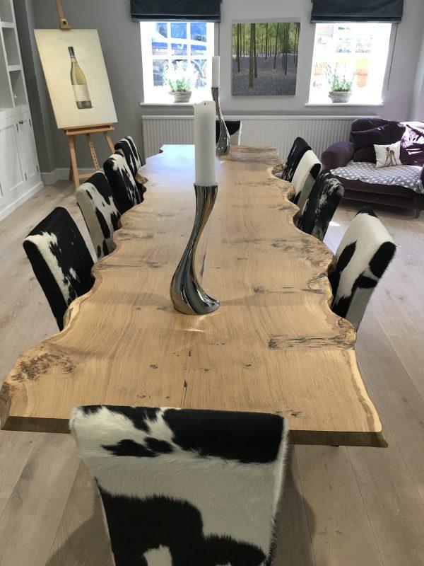 Two slab live-edge Starburst Oak dining table.