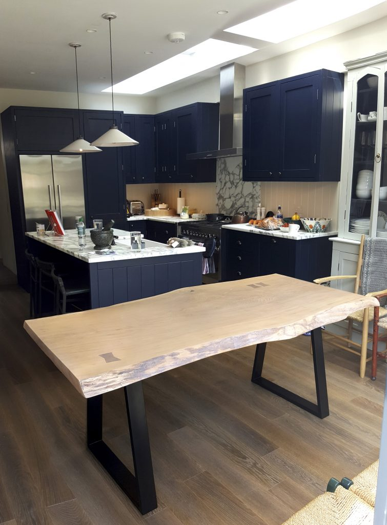 Light Oak single slab live-edge kitchen table, Putney London