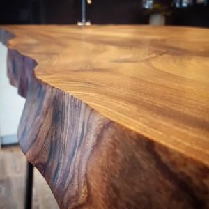 Elm single slab live-edge breakfast bar, Bath