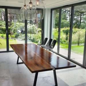 Live-edge American Walnut dining table, West Sussex