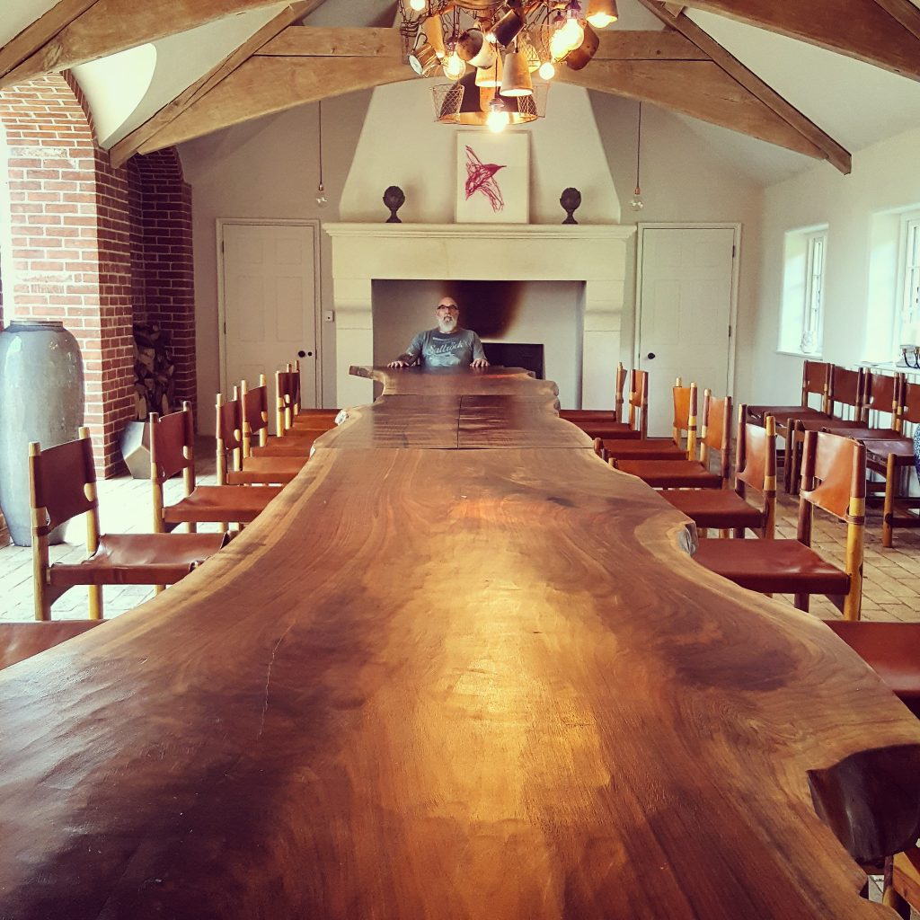 Single slab American Walnut live-edge banqueting table, Suffolk