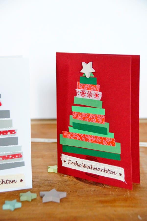 Weihnachtskarten Basteln Tannenbaum.Basteln Weihnachten Papier Einfach