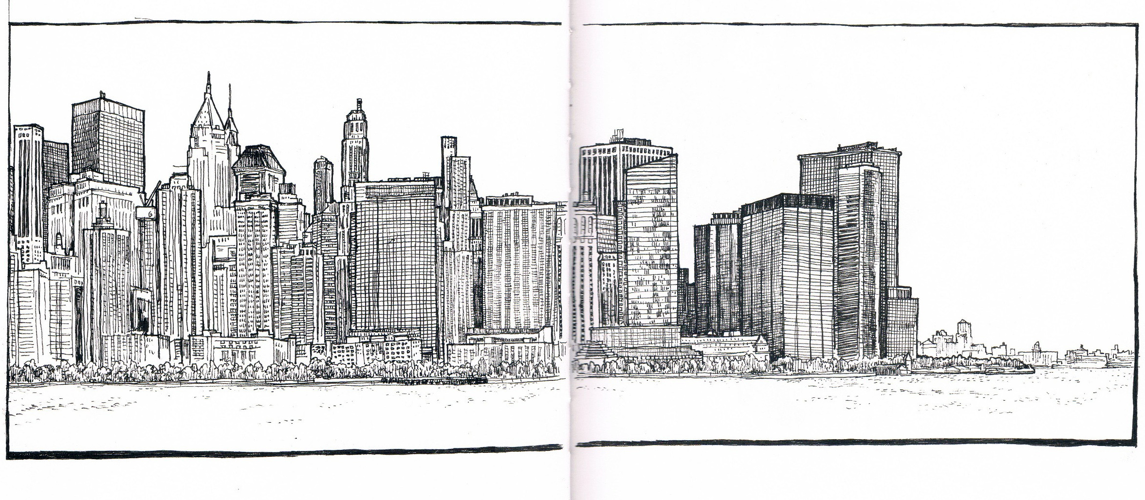 Manhattan Skyline From Jersey City Sketch November