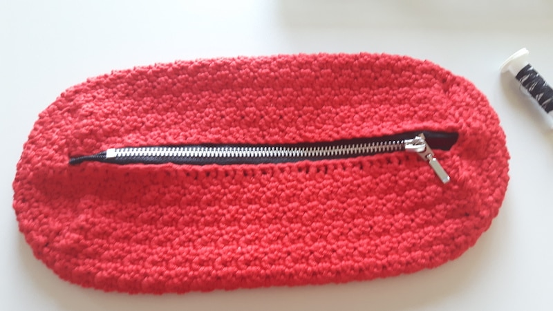 Pencil case with the sewed zipper
