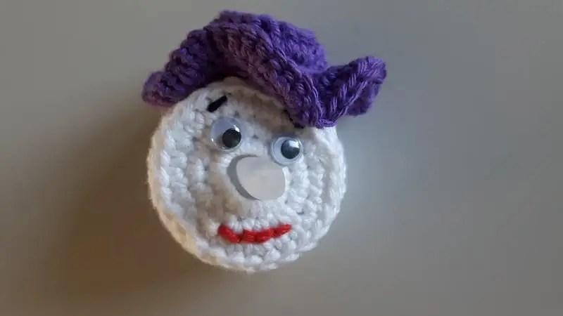 paars sneeuwpopje