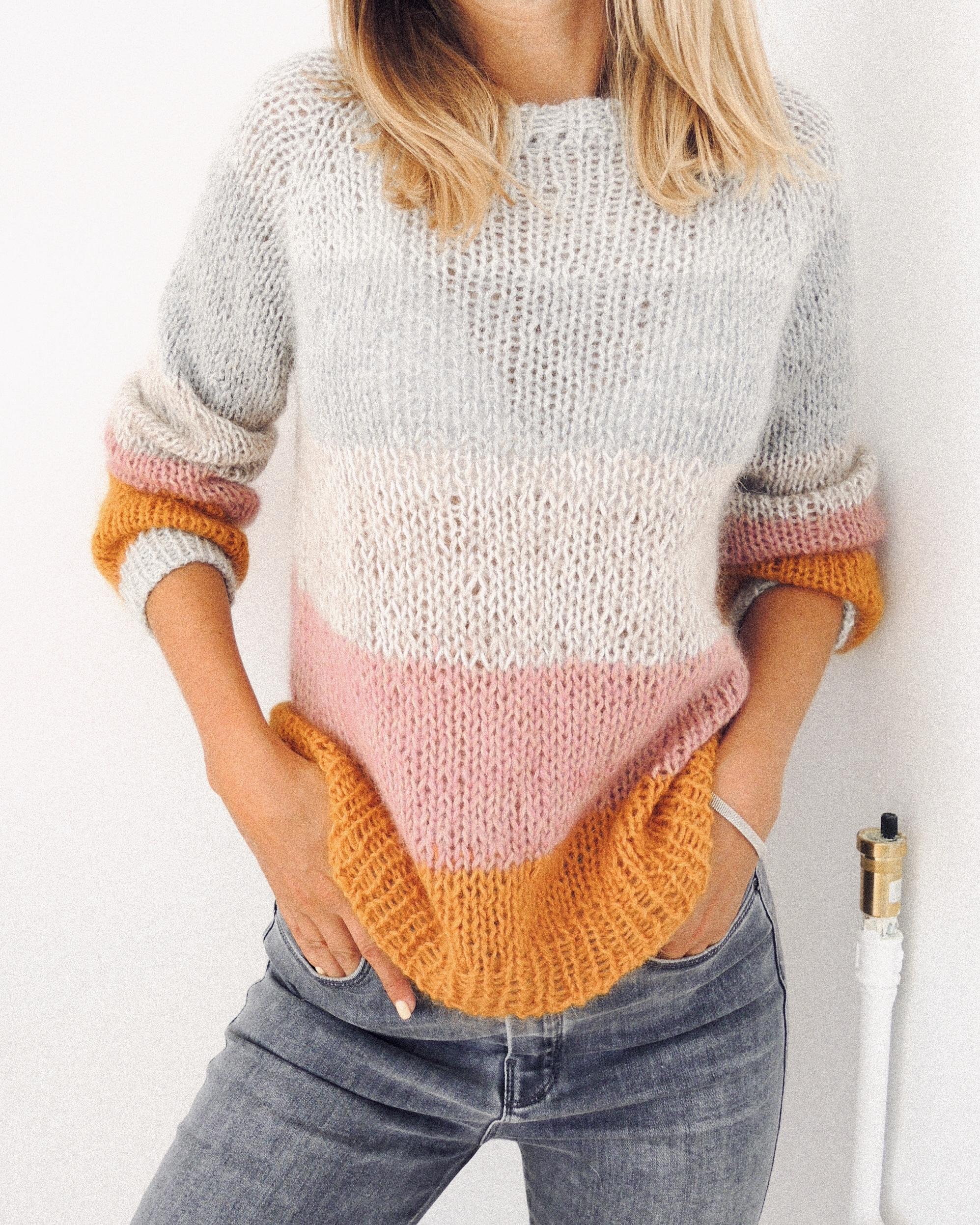 top down raglan sweter, sweter robiony na drutach, sweter robiony od góry, knitted sweater, knitting pattern, wzór na drutach, striped sweater, sweter w pasy