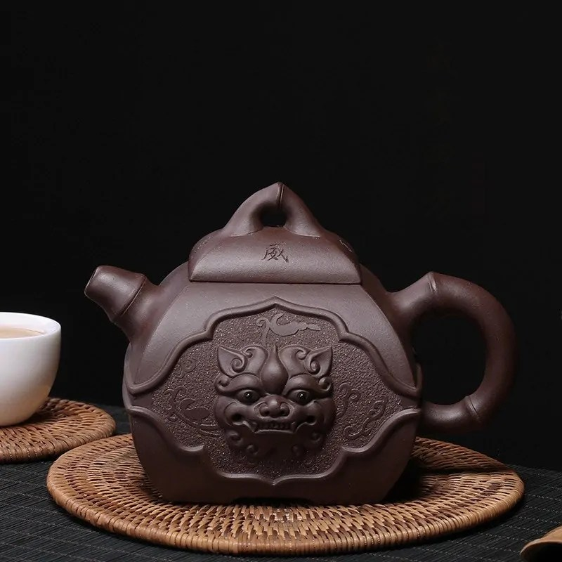 Lion Head Zisha Clay Vintage Teapot