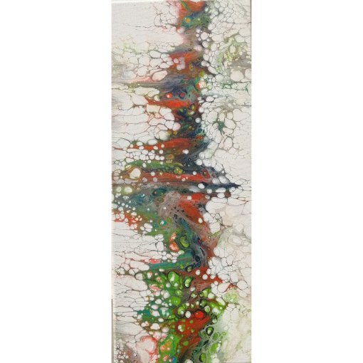 Bubbles Fluid Pour, 25 x 50 cm, Abstract, Tablou pictat manual,