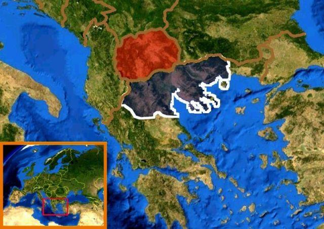 En rouge l'actuelle République de Macédoine, en gris la partie macédonienne de Grèce