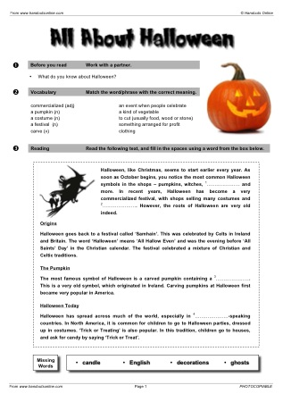 Esl Halloween Worksheets For English Teachers Ready To Print