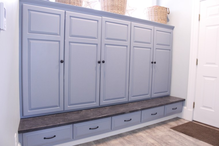 Entryway storage cabinets and seating