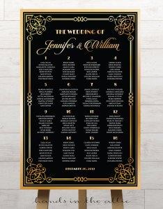 Great gatsby art deco wedding seating chart also printable stationery rh handsintheattic