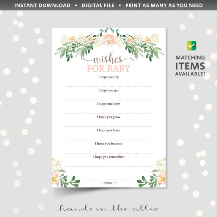 Floral Baby Shower Wishes For Baby Shower Game Printable