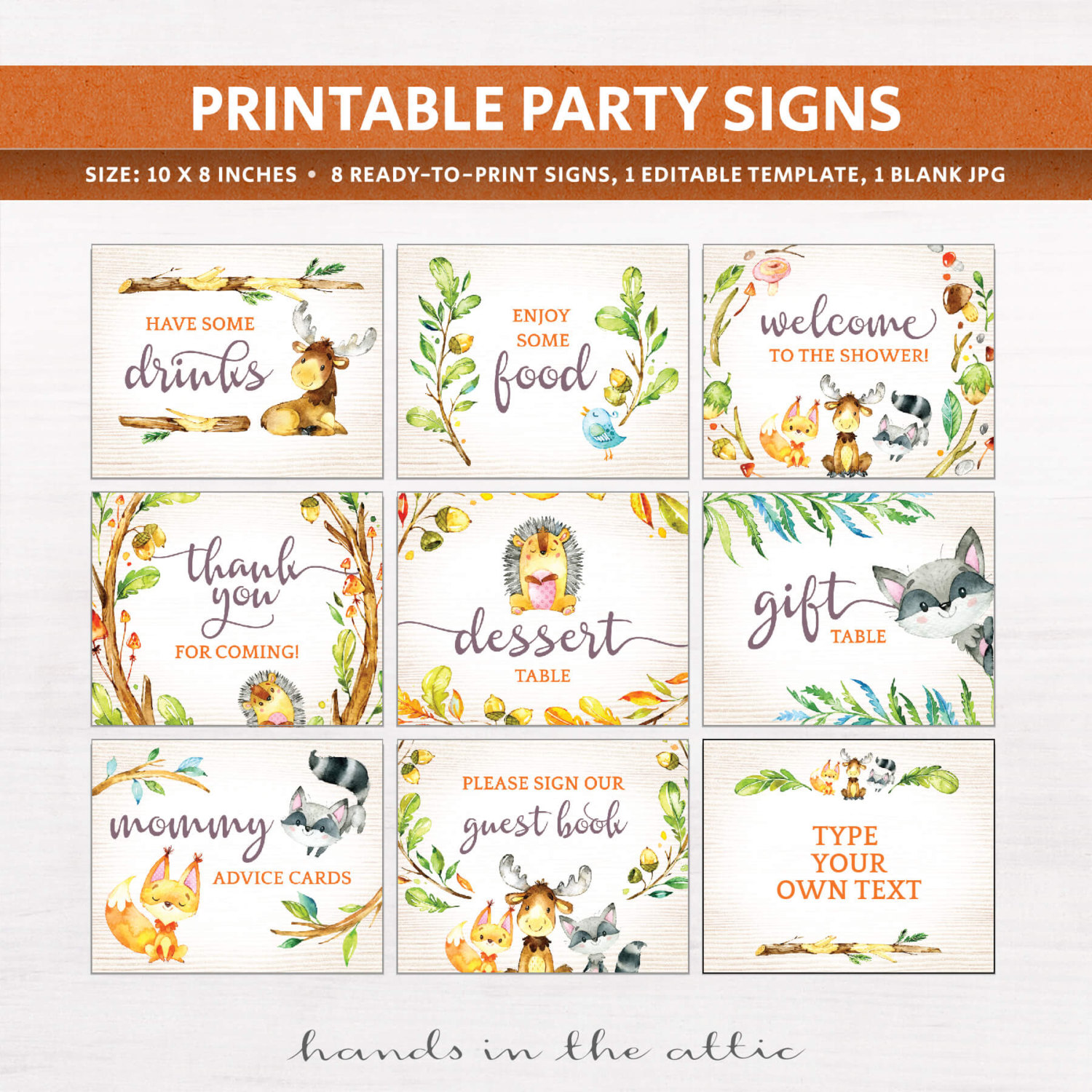 Woodland Animals Baby Shower Signs