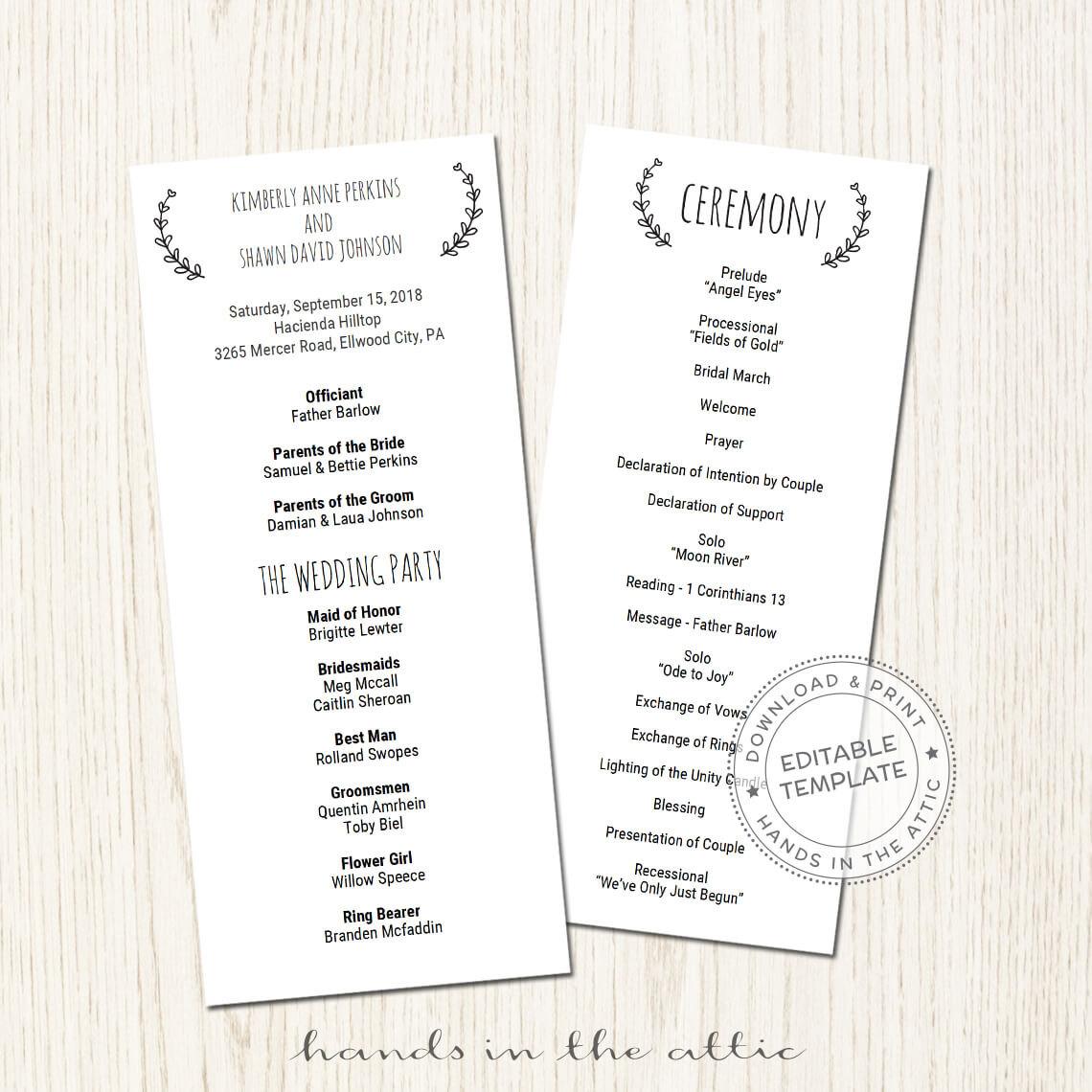 Basic Wedding Program