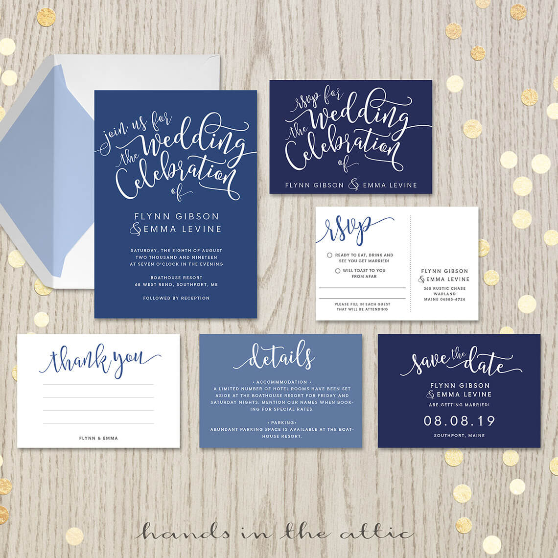 Navy Blue Wedding Invitation Set  Printable Stationery  Hands in the Attic