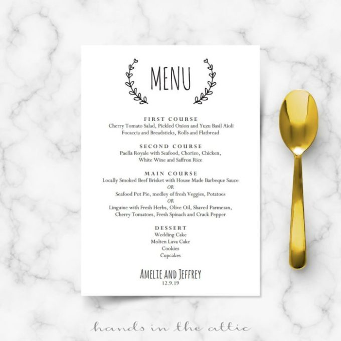 rehearsal dinner menu template save template