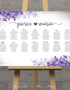 Lilac lavender wedding seating chart also hands in the attic rh handsintheattic