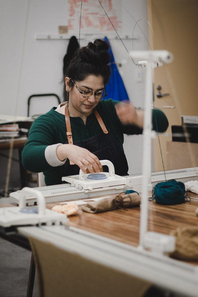 machine knitting workshops handmade beanie lore lore knitwear lorena gonzalez