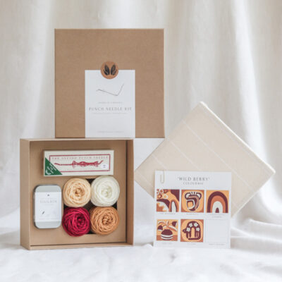 punch needle kit packaging and contents with naturally dyed yarn