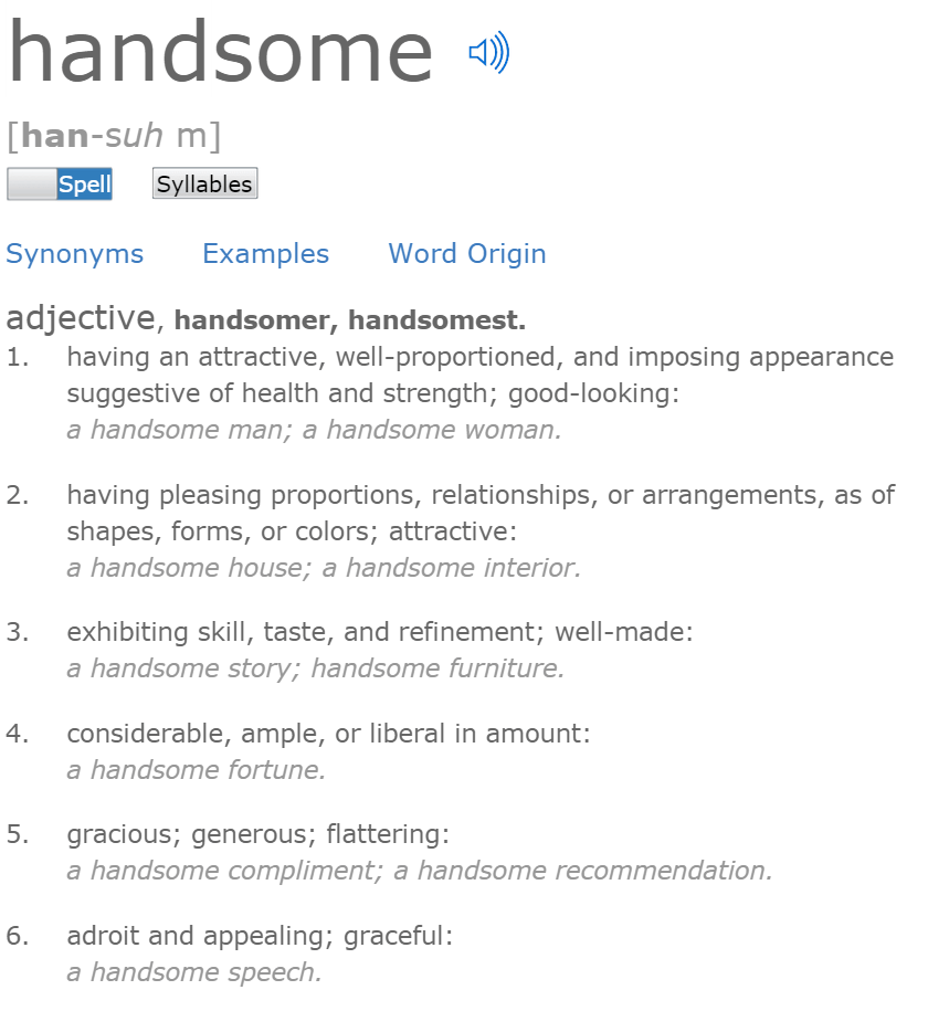 Definition of Handsome Dictionary dot com