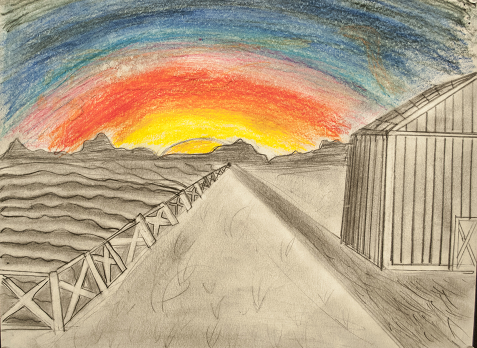 One Point Perspective in pencil & Colored pencil