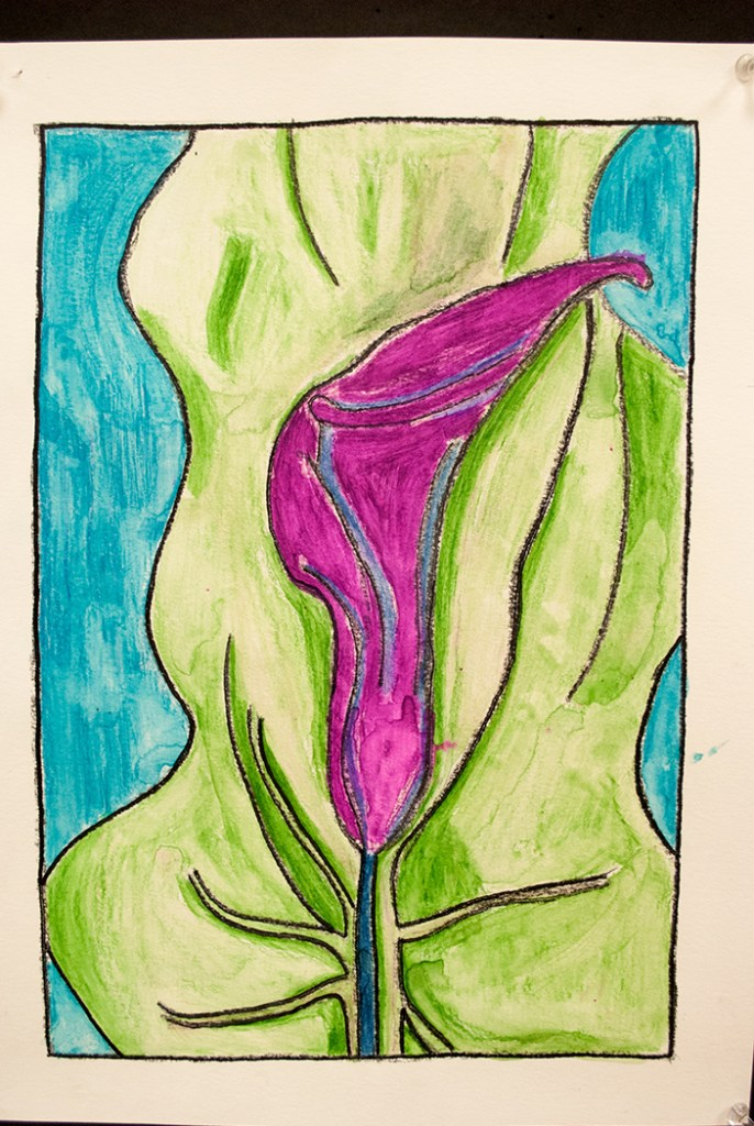 Watercolor Crayon resist of a Flower