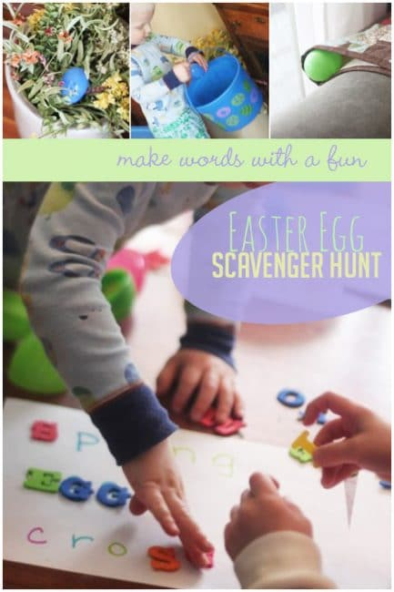 Make words and find letters on a cool Easter egg scavenger hunt that doubles as a sneaky literacy lesson!