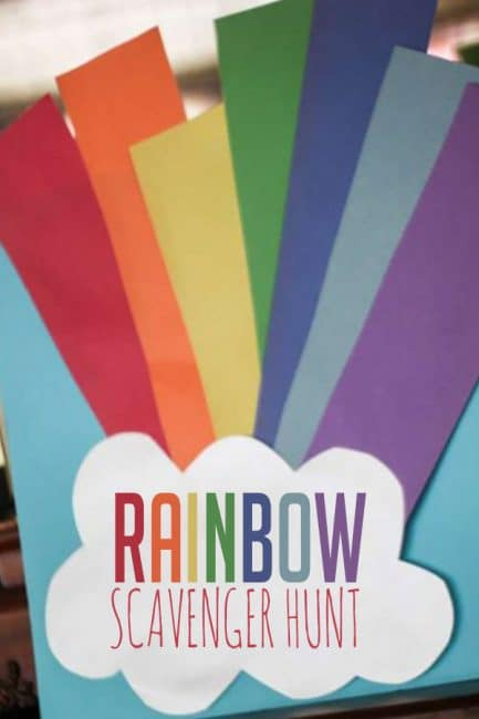 Look for a rainbow! Try this fun spring scavenger hunt with your kids!