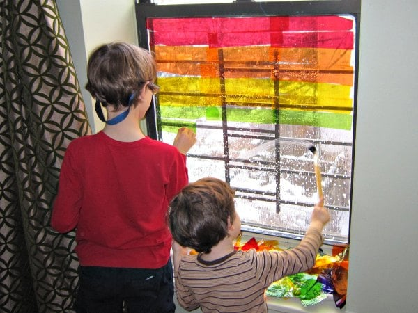 Sticking on the colors for the rainbow window