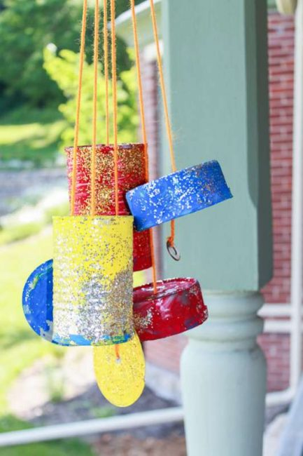 The kids can make these tin can wind chimes for the porch!