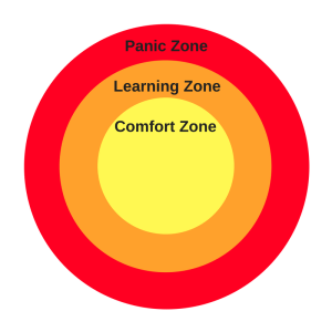 Panic Zone Learning Zone Comfort Zone diagram