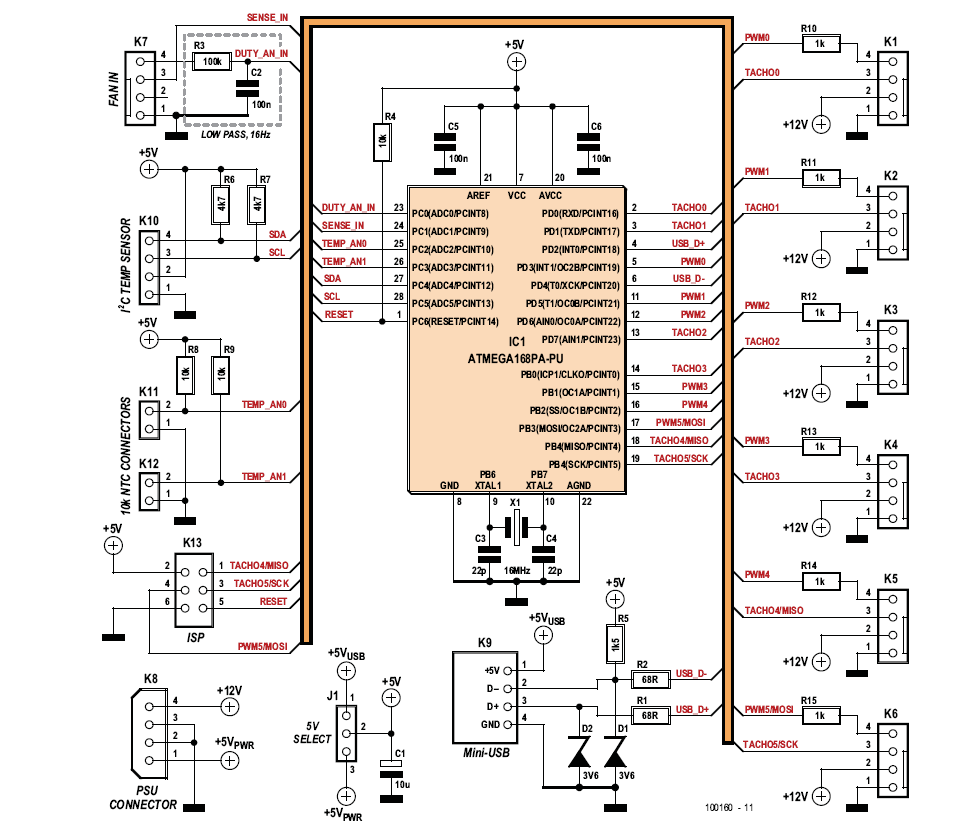 hight resolution of the circuit consists mainly of an atmega microcontroller and a large number of connectors